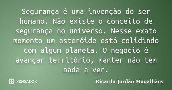 Segurança é uma invenção do ser humano. Não existe o conceito de segurança no universo. Nesse exato momento um asteróide está colidindo com algum planeta. O neg... Frase de Ricardo Jordão Magalhães.