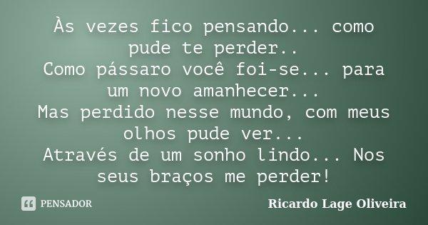 As vezes fico pensando...como pude te perder.. Como pássaro voçe foi-se...para um novo amanhecer... Mas perdido nesse mundo, com meus olhos pude ver... Através ... Frase de Ricardo Lage Oliveira.