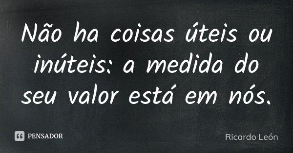 Não ha coisas úteis ou inúteis: a medida do seu valor está em nós.... Frase de Ricardo León.