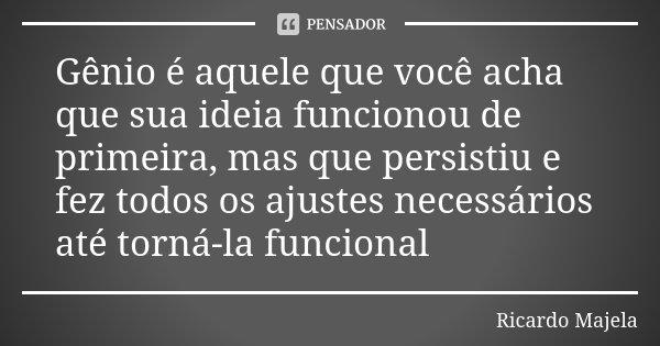 Gênio é aquele que você acha que sua ideia funcionou de primeira, mas que persistiu e fez todos os ajustes necessários até torná-la funcional... Frase de Ricardo Majela.