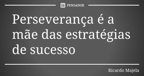 Perseverança é a mãe das estratégias de sucesso... Frase de Ricardo Majela.