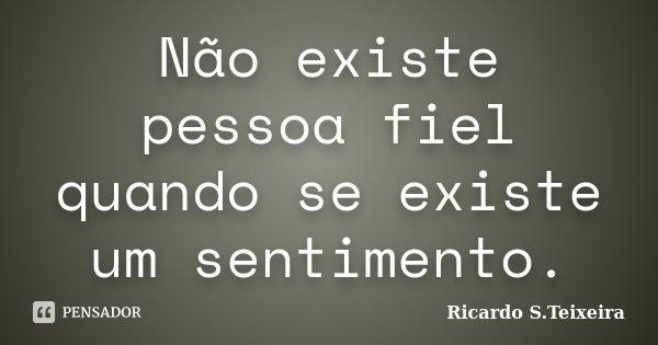 Não existe pessoa fiel quando se existe um sentimento.... Frase de Ricardo S.Teixeira.