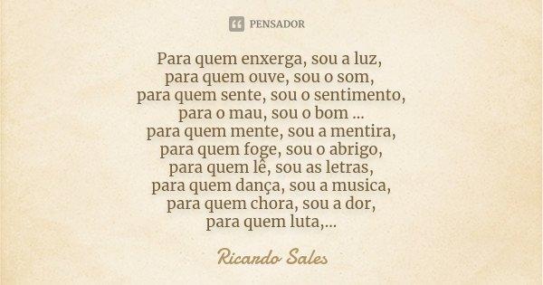 Para quem enxerga, sou a luz, para quem ouve, sou o som, para quem sente, sou o sentimento, para o mau, sou o bom ... para quem mente, sou a mentira, para quem ... Frase de Ricardo Sales.