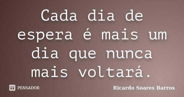 Cada dia de espera é mais um dia que nunca mais voltará.... Frase de Ricardo Soares Barros.