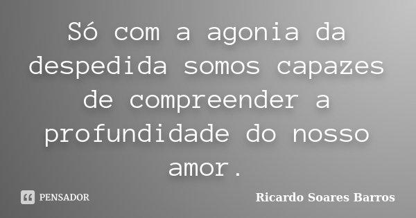 Só com a agonia da despedida somos capazes de compreender a profundidade do nosso amor.... Frase de Ricardo Soares Barros.