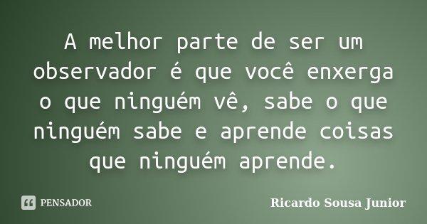 A melhor parte de ser um observador, é que você enxerga o que ninguém vê, sabe o que ninguém sabe, e aprende coisas que ninguém aprende.... Frase de Ricardo Sousa Junior.