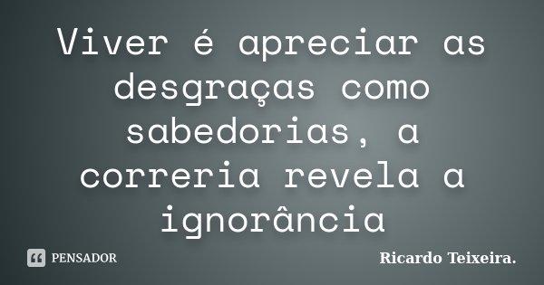 Viver é apreciar as desgraças como sabedorias, a correria revela a ignorância... Frase de Ricardo Teixeira..