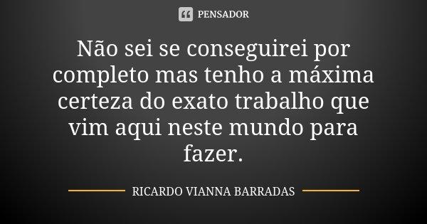 Não sei se conseguirei por completo mas tenho a máxima certeza do exato trabalho que vim aqui neste mundo para fazer.... Frase de Ricardo Vianna Barradas.