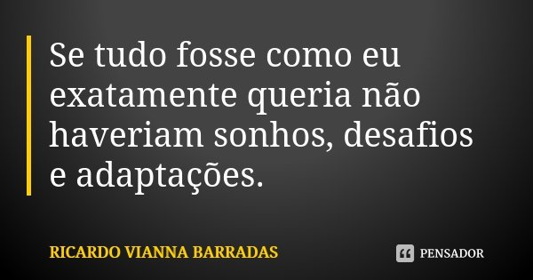 Se tudo fosse como eu exatamente queria não haveriam sonhos, desafios e adaptações.... Frase de Ricardo Vianna Barradas.