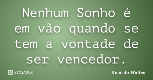 Nenhum Sonho é em vão quando se tem a vontade de ser vencedor.... Frase de Ricardo Wallas.
