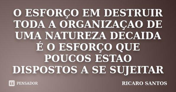 O ESFORÇO EM DESTRUIR TODA A ORGANIZAÇAO DE UMA NATUREZA DECAIDA É O ESFORÇO QUE POUCOS ESTAO DISPOSTOS A SE SUJEITAR... Frase de RICARO SANTOS.