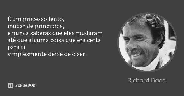 É um processo lento, mudar de príncipios, e nunca saberás que eles mudaram até que alguma coisa que era certa para ti simplesmente deixe de o ser.... Frase de Richard Bach.