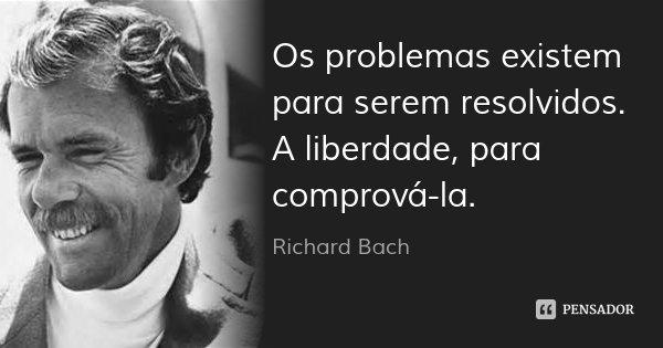 Os problemas existem para serem resolvidos. A liberdade, para comprová-la.... Frase de Richard Bach.