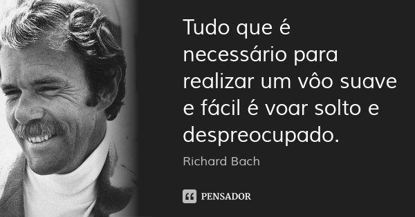 Tudo que é necessário para realizar um vôo suave e fácil é voar solto e despreocupado.... Frase de Richard Bach.