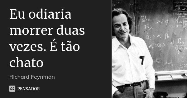 Eu odiaria morrer duas vezes. É tão chato... Frase de Richard Feynman.