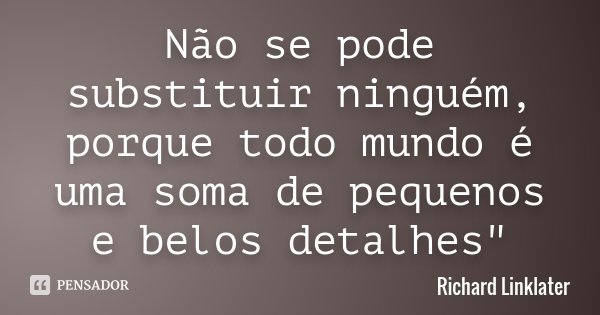 """Não se pode substituir ninguém, porque todo mundo é uma soma de pequenos e belos detalhes""""... Frase de Richard Linklater."""
