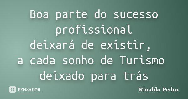 Boa parte do sucesso profissional deixará de existir, a cada sonho de Turismo deixado para trás... Frase de Rinaldo Pedro.