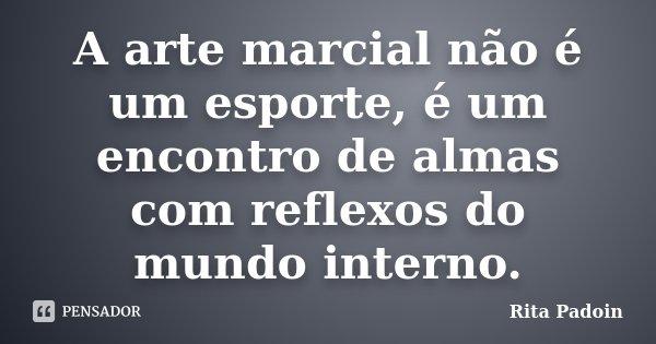 A arte marcial não é um esporte, é um encontro de almas com reflexos do mundo interno.... Frase de Rita Padoin.