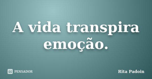 A vida transpira emoção.... Frase de Rita Padoin.