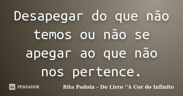 Desapegar do que não temos ou não se apegar ao que não nos pertence.... Frase de Rita Padoin - Do Livro ''A Cor do Infinito.