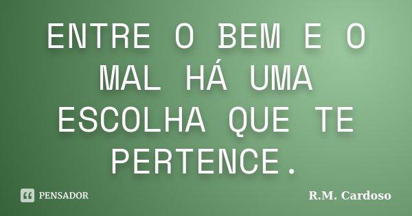 ENTRE O BEM E O MAL HÁ UMA ESCOLHA QUE TE PERTENCE.... Frase de R.M. Cardoso.