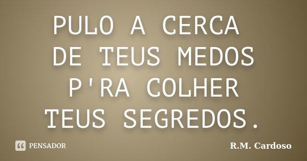 PULO A CERCA DE TEUS MEDOS P'RA COLHER TEUS SEGREDOS.... Frase de R.M. Cardoso.