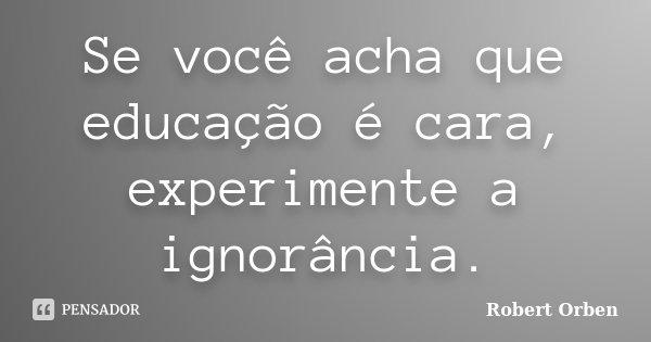Se você acha que educação é cara, experimente a ignorância.... Frase de Robert Orben.