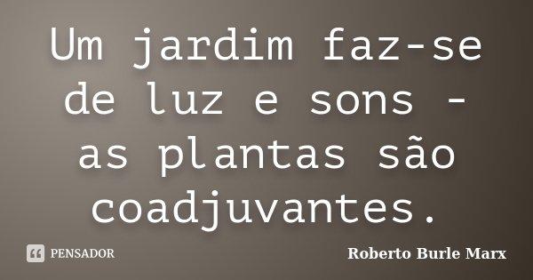 Um jardim faz-se de luz e sons - as plantas são coadjuvantes.... Frase de Roberto Burle Marx.