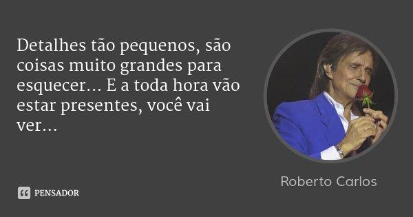 Detalhes tão pequenos, são coisas muito grandes para esquecer... E a toda hora vão estar presentes, você vai ver...... Frase de Roberto Carlos.