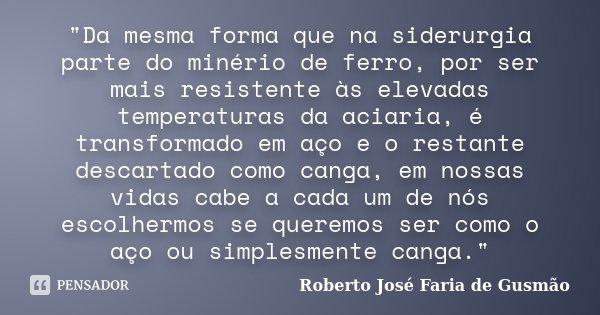 """""""Da mesma forma que na siderurgia parte do minério de ferro, por ser mais resistente às elevadas temperaturas da aciaria, é transformado em aço e o restant... Frase de Roberto José Faria de Gusmão."""