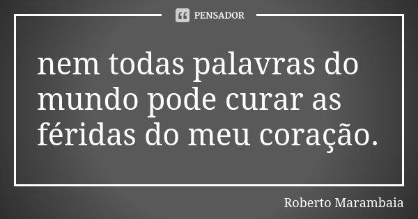 nem todas palavras do mundo pode curar as féridas do meu coração.... Frase de Roberto Marambaia.