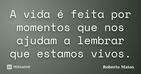 A vida é feita por momentos que nos ajudam a lembrar que estamos vivos.... Frase de Roberto Matos.