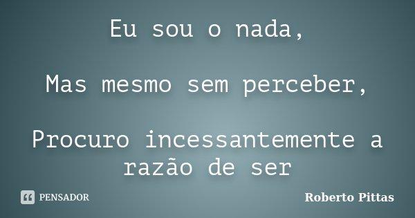 Eu sou o nada, Mas mesmo sem perceber, Procuro incessantemente a razão de ser... Frase de Roberto Pittas.