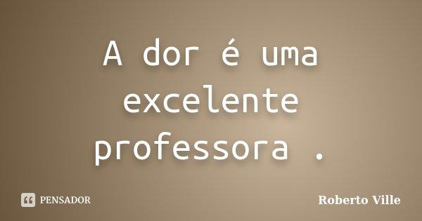 A dor é uma excelente professora .... Frase de Roberto Ville.