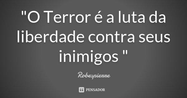 """""""O Terror é a luta da liberdade contra seus inimigos """"... Frase de Robespierre."""