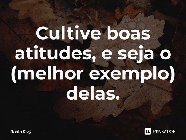 Cultive boas atitudes, e seja o (melhor exemplo) delas.... Frase de Robin S.25.