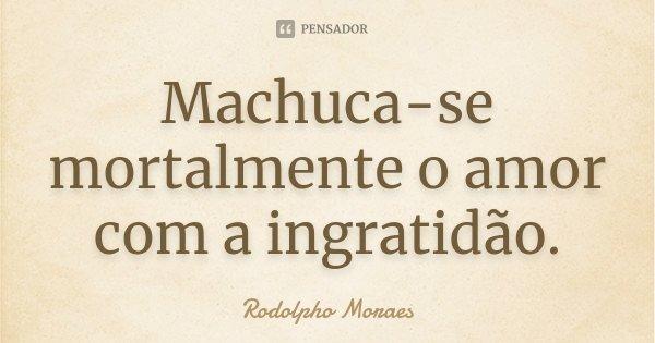 Machuca-se mortalmente o amor com a ingratidão.... Frase de Rodolpho Moraes.