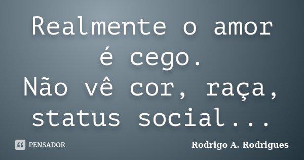 Realmente o amor é cego. Não vê cor, raça, status social...... Frase de Rodrigo A. Rodrigues.