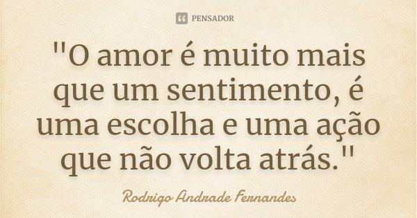 """""""O amor é muito mais que um sentimento, é uma escolha e uma ação que não volta atrás.""""... Frase de Rodrigo Andrade Fernandes."""