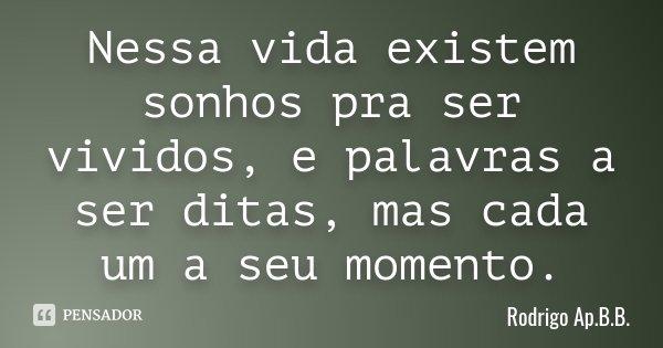 Nessa vida existem sonhos pra ser vividos, e palavras a ser ditas, mas cada um a seu momento.... Frase de Rodrigo Ap.B.B..