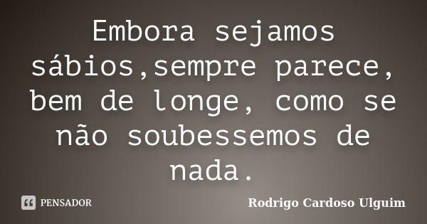 Embora sejamos sábios,sempre parece, bem de longe, como se não soubessemos de nada.... Frase de Rodrigo Cardoso Ulguim.