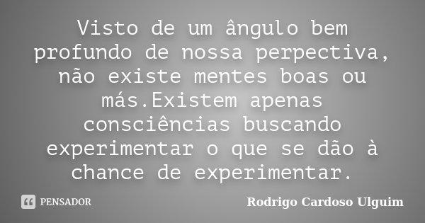 Visto de um ângulo bem profundo de nossa perpectiva, não existe mentes boas ou más.Existem apenas consciências buscando experimentar o que se dão à chance de ex... Frase de Rodrigo Cardoso Ulguim.