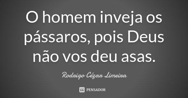 O homem inveja os pássaros, pois Deus não vos deu asas.... Frase de Rodrigo Cézar Limeira.