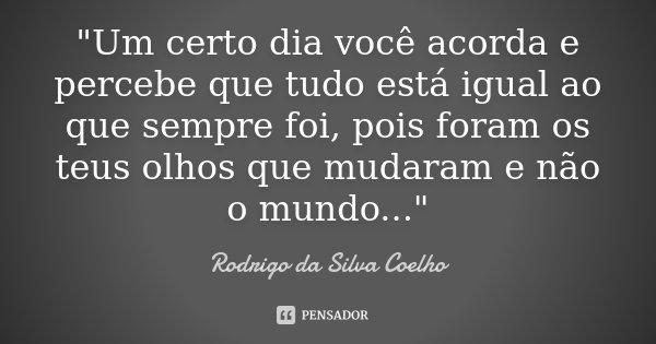 """""""Um certo dia você acorda e percebe que tudo está igual ao que sempre foi, pois foram os teus olhos que mudaram e não o mundo...""""... Frase de Rodrigo da Silva Coelho."""