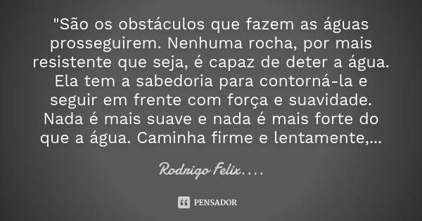 """""""São os obstáculos que fazem as águas prosseguirem. Nenhuma rocha, por mais resistente que seja, é capaz de deter a água. Ela tem a sabedoria para contorná... Frase de Rodrigo Felix...®.."""