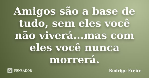 Amigos são a base de tudo, sem eles você não viverá...mas com eles você nunca morrerá.... Frase de Rodrigo Freire.