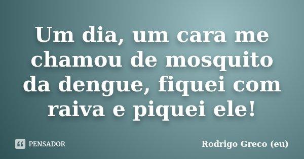 Um dia, um cara me chamou de mosquito da dengue, fiquei com raiva e piquei ele!... Frase de Rodrigo Greco (eu).