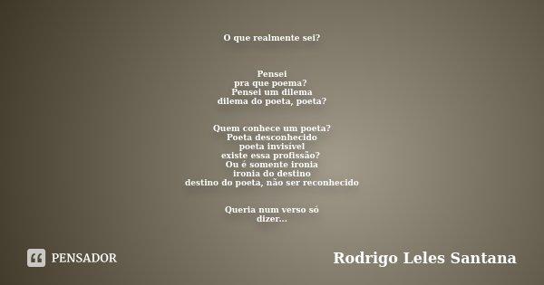 O que realmente sei? Pensei pra que poema? Pensei um dilema dilema do poeta, poeta? Quem conhece um poeta? Poeta desconhecido poeta invisível existe essa profis... Frase de Rodrigo Leles Santana.