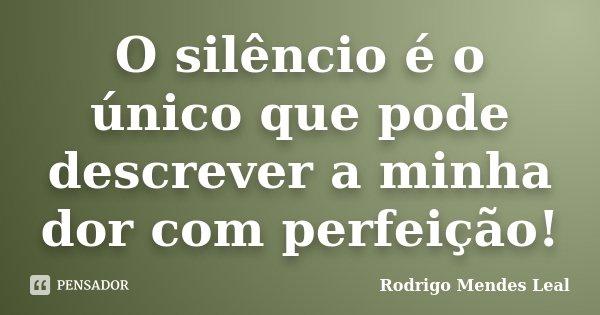 O silêncio é o único que pode descrever a minha dor com perfeição!... Frase de Rodrigo Mendes Leal.