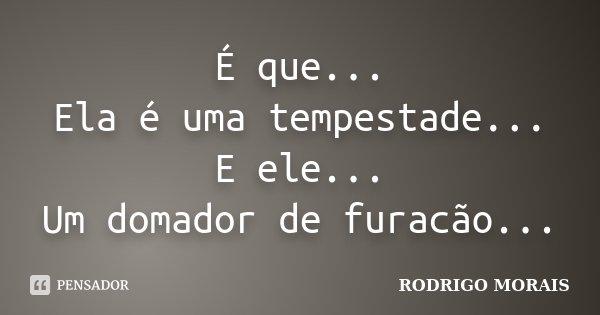 É que... Ela é uma tempestade... E ele... Um domador de furacão...... Frase de Rodrigo Morais.